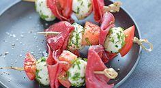 Recette de #brochettes de #viande des #Grisons et #mozzarella