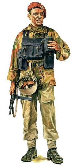 Brytyjski komandos z 3. batalionu regimentu spadochroniarzy z pistoletem maszynowym Sten Mk II, pin by Paolo Marzioli