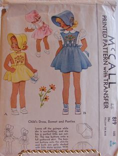McCall 819: Child's dress, bonnet and panties