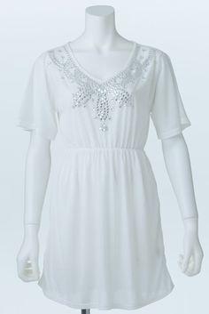 Bijou Tunic (White)   Cherry Ann Online Shop Cherry Ann, White Cherries, Tunic Tops, Blouses, Shopping, Women, Fashion, Moda, Fashion Styles
