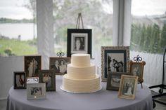 Memory table with a memorable cake! La Banque at the Seaplane Base Wedding - Havre de Grace Weddings