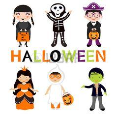 Ustawi liczne kolorowe Halloween dzieci Ilustracji wektorowych Zdjęcie Seryjne