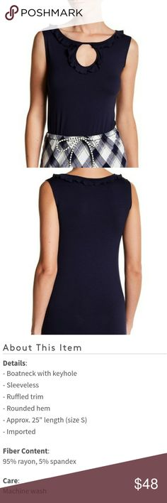 NWT Max Studio navy top Brand new with tags. Max Studio navy sleeveless keyhole top Max Studio Tops