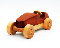 Wooden Toy Car Classic Racecar 100% Hardwood by woodentoystudio