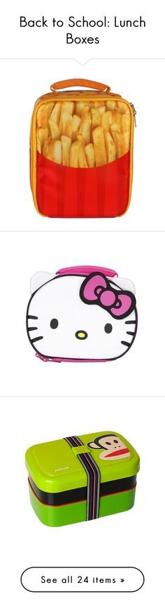 """Back to School: Lunch Boxes"" by polyvore-editorial ❤ liked on Polyvore featuring BackToSchool, lunchboxes, home, kitchen & dining, food storage containers, red, colored lunch bags, red lunch bag, pink and hello kitty"