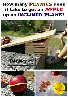 How many pennies does it take to get an apple up an inclined plane? How many pennies does it take to get an apple up an inclined plane? Simple science for kids! It's a great way to learn about gravity and motion, easy to set up and something kids enjoy d Steam Activities, Science Activities, Science Projects, Projects For Kids, Activities For Kids, Engineering Projects, Stem Projects, Science Ideas, Science Lessons