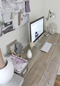 White Office Decor - beautiful wood desk - great for every home and office. Rustic Home Offices, Feminine Home Offices, Home Office Design, Office Decor, Office Ideas, Desk Ideas, Desk Office, Office Designs, Closet Office