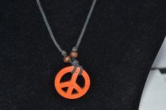 Vintage Necklace with Orange Peace Pendant by eventsmatters
