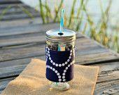 Navy blue pearl bracelets fabric mason jar tumbler! Looks great monogrammed! From CarolineRandallMade.etsy.com
