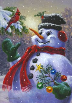 Snowman Painting - Seasons Greetings by Richard De Wolfe Christmas Scenes, Vintage Christmas Cards, Christmas Pictures, Christmas Snowman, Winter Christmas, Christmas Holidays, Christmas Crafts, Christmas Decorations, Christmas Ornaments