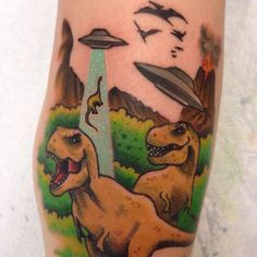 Dinosaurs Vs. Aliens ufo tattoo color by Cody Brigan awesome funny
