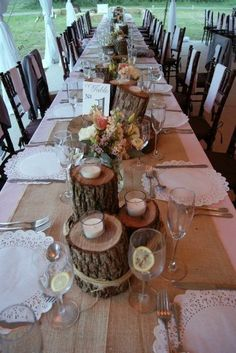 wooden centerpieces...what do you think of this one, but with sunflowers, yellow doilies, etc.???