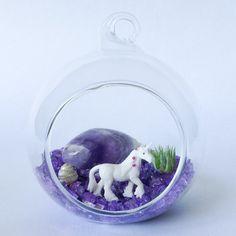 The Tiny Bubbles Series: Unicorn Terrarium Kit by TerrariumKits Air Plant Terrarium, Terrariums, Terrarium Kits, Adirondack Chair Kits, Purple Crafts, Salon Styling Chairs, Fantasy Craft, Sea Urchin Shell, Crystal Garden