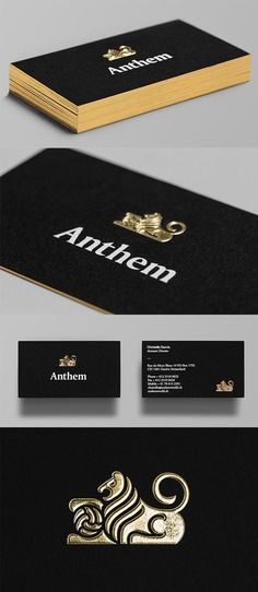 Distinctive Gold Foil Embossed Logo On A Black Business Card