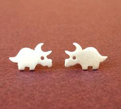 Dinosaur Earrings Dino Studs Triceratops Sterling Silver Teen Earrings Kids Jewelry  Post Earrings  Jewelry mother's day