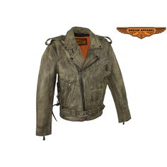 Dealer Leather Mens Distressed Brown Leather Motorcycle Jacket With Black Leather Side Laces