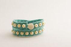 Day 6: A Pearl Cuff - a diy pearl and felt bracelet - Flax & Twine