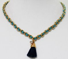Vivian Guenoun Blue Laced Chain Necklace by Shopkaloo on Etsy, $42.00