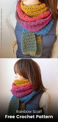 Rainbow Scarf Free Crochet Pattern #crochet #crafts #yarn #homemade #handmade