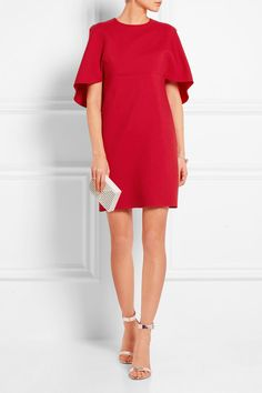 Valentino | Cape-effect wool and silk-blend crepe mini dress | NET-A-PORTER.COM