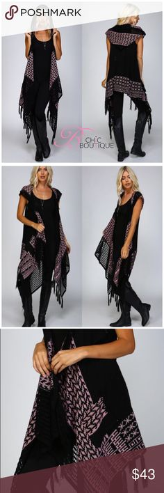 """Hooded Sleeveless Wrap Cardigan Knit wrapover cardigan Hooded and sleeveless Crochet edging on lapels and hood Tasseled fringe along bottom and top edge 2 Diagonal front pockets Contrast patterns – Black/Pink, Ivory/Black 75% acrylic, 25% mohair Style it with short or long sleeve tops, jeans, leggings or pants!  Available in S/M or M/L  Measurements laying flat S/M Bust 16""""/ length  36"""". M/L Bust 17""""/ length 37"""" Available in two colors. Black/Pink, Ivory/Black Bchic Sweaters Cardigans"""