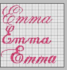 Emma2 Cross Stitch Letters, Le Point, Crochet, Cross Stitch Embroidery, Monograms, Craft, Disney Cross Stitches, Bib Pattern, Funny Cross Stitches