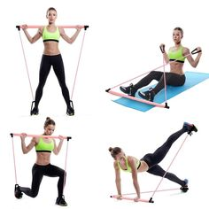 Pilates Exercise Stick Toning Bar Fitness Home Yoga Gym Body Workout Body Abdominal Resistance Bands Rope Puller Pilates Training, Pilates Workout, 15 Min Training, Pilates Reformer, Fitness Pilates, Workout Body, Pop Pilates, Pilates Yoga, Full Body Workouts