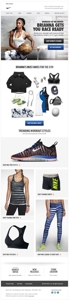 Nike email Workout of the Month stylist picks