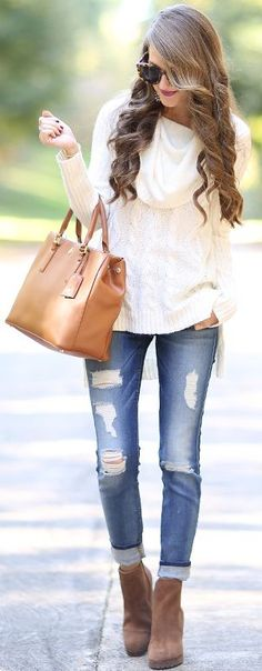 White Cozy Cable Knit Fall Inspo by Southern Curls and pearls