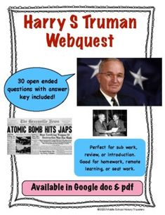 Harry S Truman Webquest Middle School History, Teaching History, Teacher Newsletter, Students, Politics, This Or That Questions, Learning, Life, Study