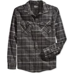 Retrofit Men's Plaid Flannel Long-Sleeve Shirt ($25) ❤ liked on Polyvore featuring men's fashion, men's clothing, men's shirts, men's casual shirts, men, mens shirts, shirts and black