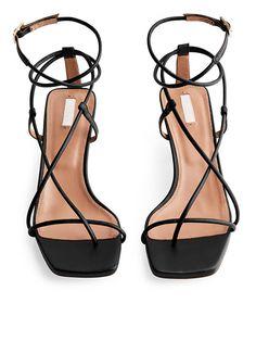 Front image of Arket mid-heel leather strap sandal in black Strap Heels, Strap Sandals, Ankle Strap, Black Sandals, Black Shoes, High Sandals, Look Boho, Metal Buckles, Slippers