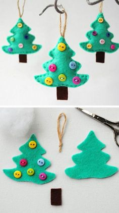 Felt Christmas Tree Ornament | Click for 25 DIY Christmas Crafts for Kids to Make | DIY Christmas Decorations for Kids to Make