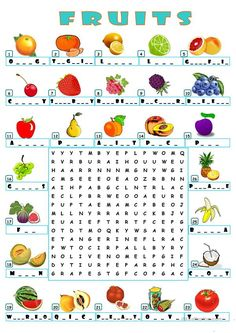A wordsearch for practicing and learning fruits. 2nd Grade Worksheets, Kindergarten Math Worksheets, School Worksheets, Printable Worksheets, English Lessons For Kids, English Worksheets For Kids, English Activities, English Language Learning, Teaching English