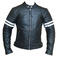 White Striped Cafe Racer Style Retro Leather Jacket | Stylees.co.uk - Motorcycle & Leather Fashion Clothing Store - Motorcycle Jackets, Helmets, Biker Boots, Leather Pants & Chaps