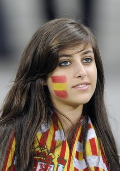 2014 World Cup Spanish red, yellow and red flag tattoo on face