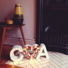 happy couples initials and flower heart marquee sign