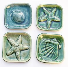 Starfish Shell square dishes ocean surf art $28 etsy.com @firecat