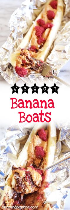 Vegan banana boats are sweet gooey and full of fun flavors and textures! The perfect summertime treat. Vegan banana boats are sweet gooey and full of fun flavors and textures! The perfect summertime treat. Vegan Sweets, Vegan Desserts, Vegan Recipes, Vegan Snacks, Strawberry Desserts, Free Recipes, Banana Boats, Easy No Bake Desserts, Easter Desserts