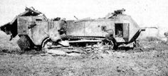 French Tanks of the Interwar Decades - Battle-damaged Saint Chamond. Note the badly damaged roof. - From http://www.alternativefinland.com/french-tanks-interwar-decades/