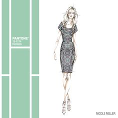 Imagine wearing this chic dress in Hemlock to a garden party next Spring! Great design @Nicole Novembrino Novembrino Miller! #FCRS14 #pantone #NMrunway