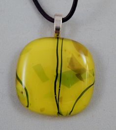 Sunny Yellow Glass Pendant by ZacInTheBoxCreations on Etsy