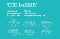 bakery business card in blue colour highlighting mainly the variety of cakes this bakery making it more visually appealing for the reader