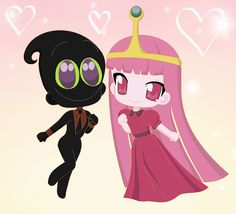 Nergal And Princess Bubblegum In Anime Chibi Couple Love For Best Love Together Forever And Ever (Bubblegal) Cartoon Network 2016 Art By Nathaniel