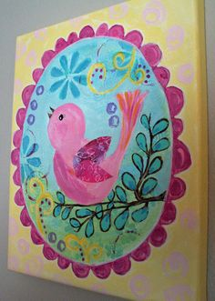 Pink Bird Whimsical Painting, Original Art for Girls Room, 8x10 Canvas, Flowers, Yellow, Pink, Blue on Etsy, $51.00