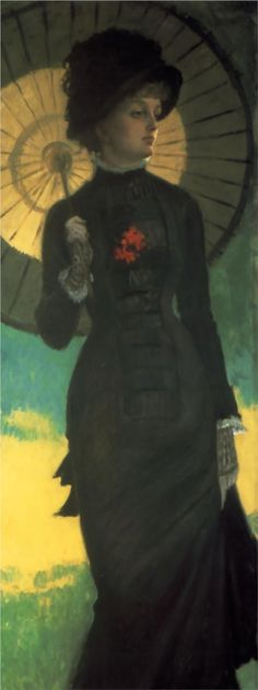 Mrs. Newton with a Parasol - James Tissot, c.1879. Although this was painted 30 years after the movement began, the style is still Pre-Raphaelite.