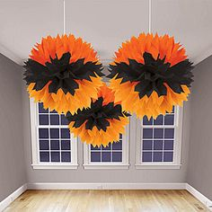 Black and orange bat design fluffy Halloween decorations! An easy and quick decoration for a party or special Halloween event! Holidays Halloween, Halloween Crafts, Halloween Decorations, Halloween Party, Library Decorations, Haunted Halloween, Halloween Carnival, Hanging Decorations, Halloween 2017