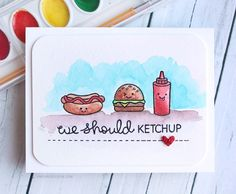 Crayola Watercolor Card (ft. Lawn Fawn Let's BBQ stamps) by Kristina Werner.
