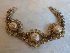 Gorgeous Vintage Weiss Baroque Pearl & Champagne Crystal Bracelet! Opening Bid $9.99. Beautiful Color! At Vintage Addiction Jewelry Ebay Store!