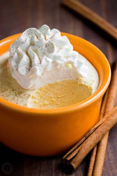 Pumpkin mousse cups have the taste and texture of whipped pumpkin pie. Smooth and airy pumpkin mousse recipe with the best rum-infused whipped cream! (holiday drinks with rum) Thanksgiving Recipes, Fall Recipes, Sweet Recipes, Holiday Recipes, Holiday Drinks, Fall Desserts, Just Desserts, Dessert Recipes, French Desserts